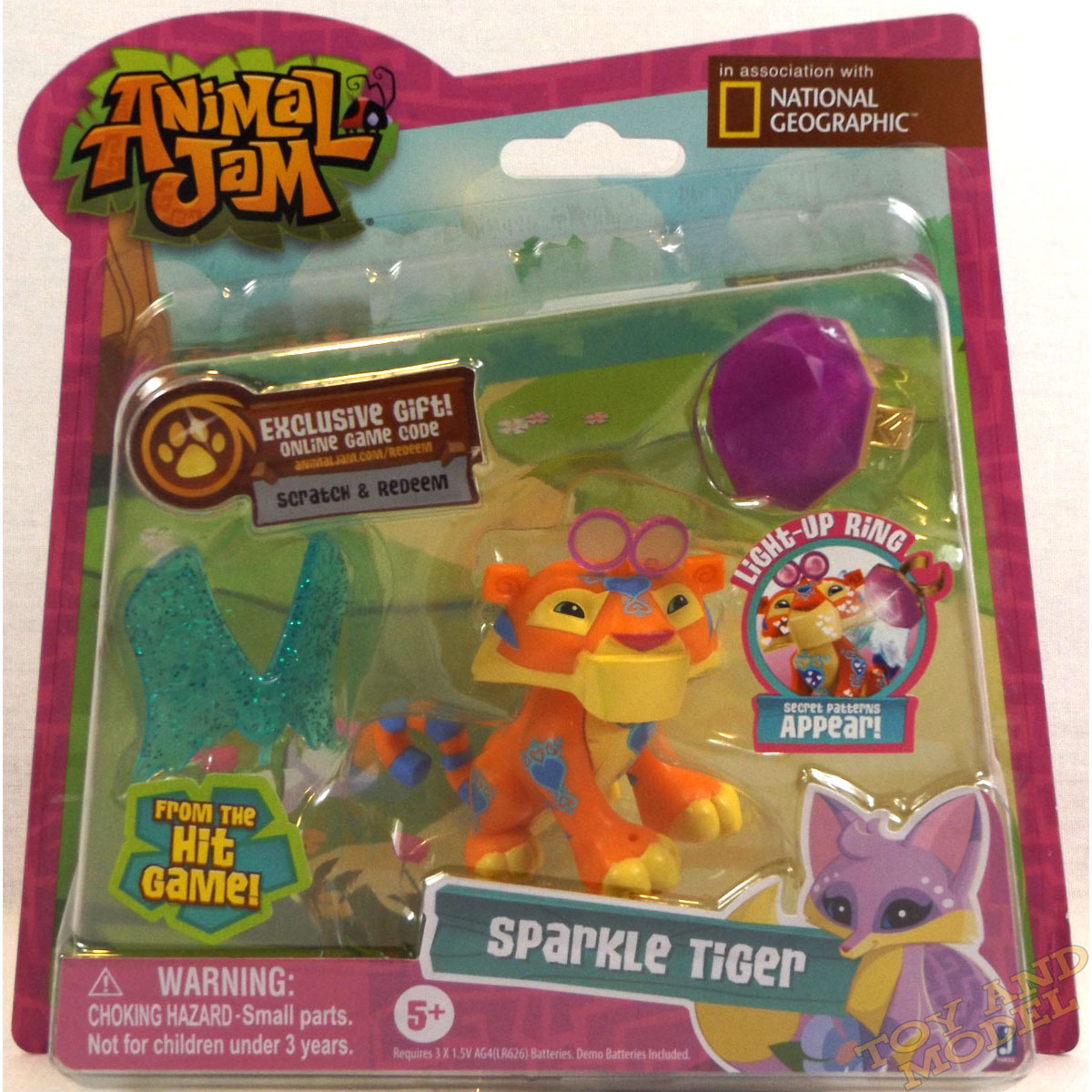 Animal Jam Sparkle Tiger with Light Up Ring Toy 16832